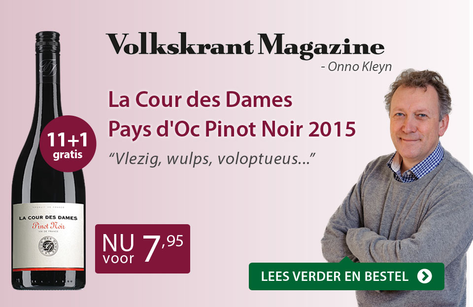 Volkskrant - Onno Kleyn: La Cour des Dames Pays d'Oc Pinot Noir 2015 - paars