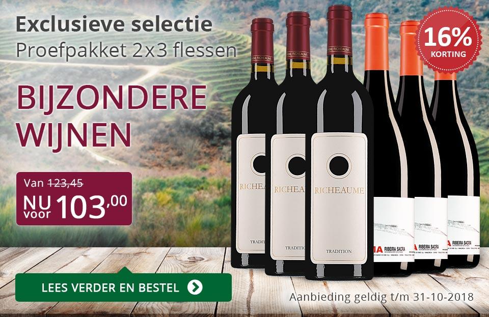 Proefpakket bijzondere wijnen oktober 2018 (103,00) - paars